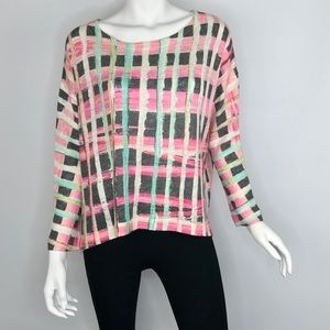 {Nally & Millie} Abstract Printed Tunic Top